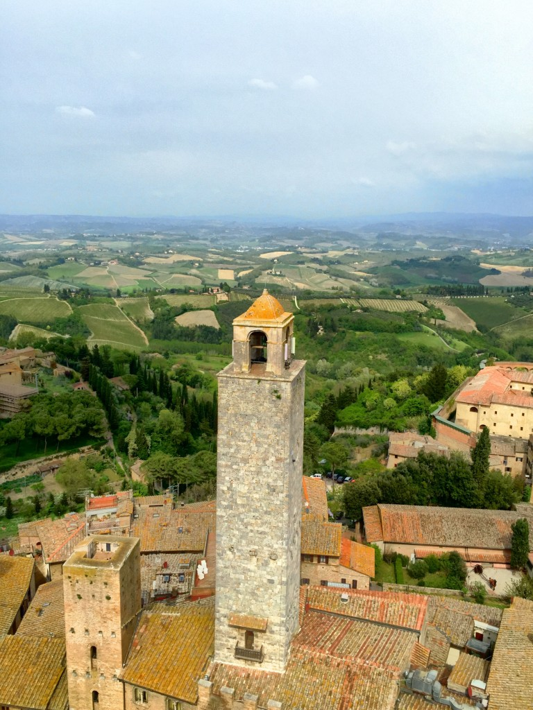 View of San Gimignano from the highest tower. Tuscany, Italy.