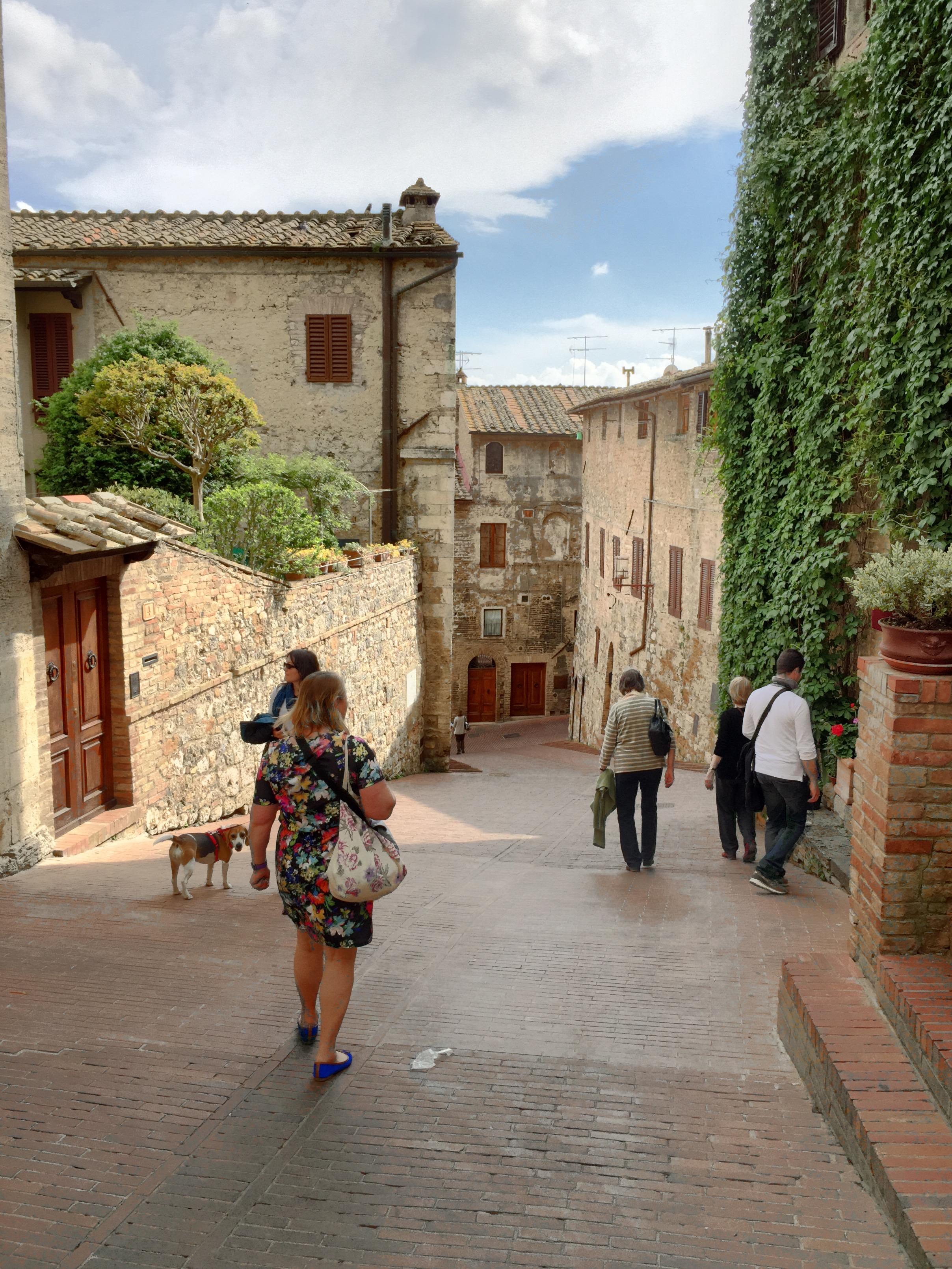 San Gimignano Path in Tuscany Italy